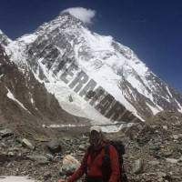 K2 with base camp to the left of my head