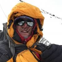 The leader enjoying a selfie in -20C windy conditions at 7500m