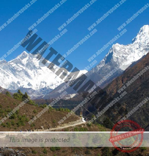 Everest, Lhotse and Ama Dablam from above Namche.