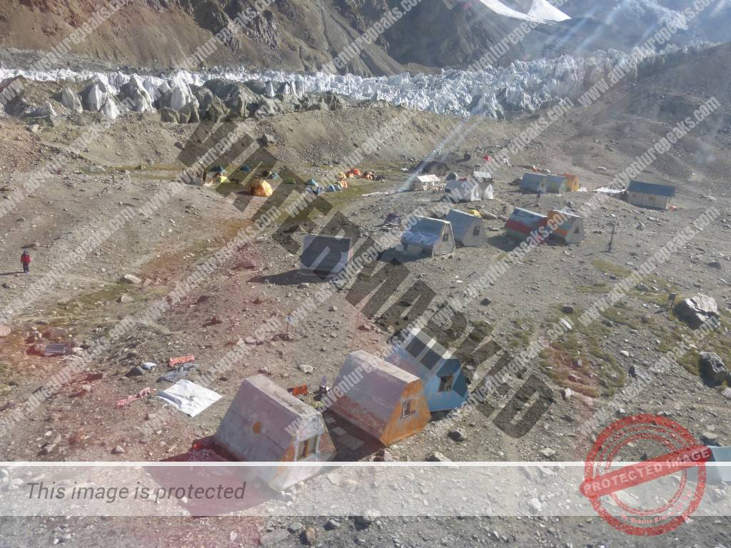 Korzhenevskaya Base Camp from the air