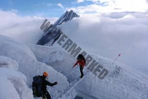 crossing a crevasse using ladders on Mansalu expedition