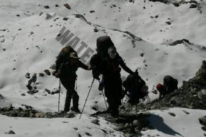 Working through the glacier out of base camp