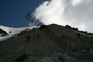Looking up the ridge at 5200m