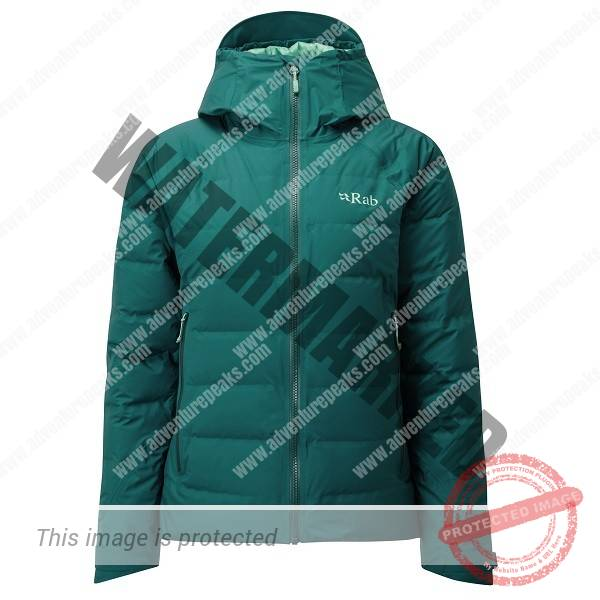 Bonded box-wall construction down-filled jacket with fully waterproof Pertex Shield outer. A protective down jacket for use in tough winter conditions~Pertex Shield  fully taped waterproof outer #100% nylon inner#800FP R.D.S. Certified European Goose Down (160g/ 5.6oz size 12)#Rab Fluorocarbon free Hydrophobic Down developed in conjunction with Nikwax#Bonded narrow box-wall construction#Pyrotec synthetic insulation filled hood, helmet compatible, wired peak#YKK VISLON front zip with internal zip baffle#2 YKK AquaGuard zipped hand warmer pockets#1 YKK zipped internal security pocket#Pyrotec synthetic insulation filled slimline cuffs, hook and loop adjustable#Oversize drawcord adjustment at hem and rear hood#Stuffsack#Fit: Regular