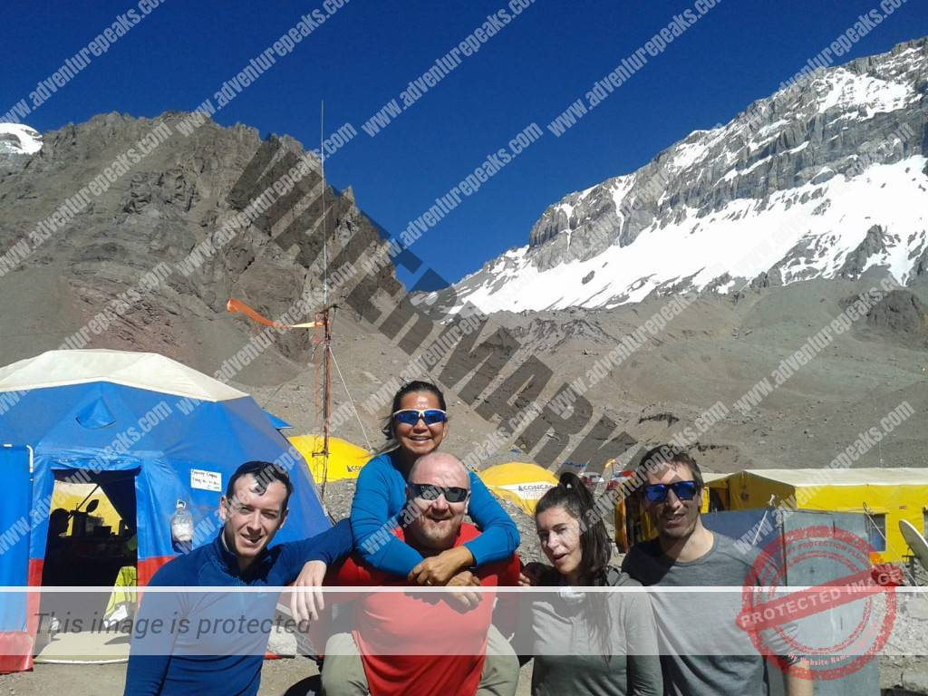 Adventure Peaks 29th Dec 2019 Team at Plaza Argentinas Base Camp