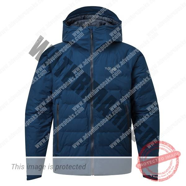 Bonded box-wall construction down-filled jacket with fully waterproof Pertex Shield outer. A protective down jacket for use in tough winter conditions~Pertex Shield  fully taped waterproof outer #100% nylon inner#800FP R.D.S. Certified European Goose Down (170g/ 6oz size L)#Rab Fluorocarbon free Hydrophobic Down developed in conjunction with Nikwax#Bonded narrow box-wall construction#Pyrotec synthetic insulation filled hood, helmet compatible, wired peak#YKK VISLON front zip with internal zip baffle#2 YKK AquaGuard zipped hand warmer pockets#1 YKK zipped internal security pocket#Pyrotec synthetic insulation filled slimline cuffs, hook and loop adjustable#Oversize drawcord adjustment at hem and rear hood#Stuffsack#Fit: Regular