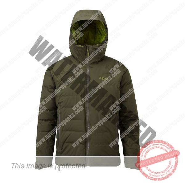 Bonded box-wall construction down-filled jacket with fully waterproof Pertex Shield outer. A protective down jacket for use in tough winter conditions Pertex Shield  fully taped waterproof outer #100% nylon inner#800FP R.D.S. Certified European Goose Down (170g/ 6oz size L)#Rab Fluorocarbon free Hydrophobic Down developed in conjunction with Nikwax#Bonded narrow box-wall construction#Pyrotec synthetic insulation filled hood, helmet compatible, wired peak#YKK VISLON front zip with internal zip baffle#2 YKK AquaGuard zipped hand warmer pockets#1 YKK zipped internal security pocket#Pyrotec synthetic insulation filled slimline cuffs, hook and loop adjustable#Oversize drawcord adjustment at hem and rear hood#Stuffsack#Fit: Regular