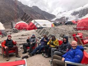 Relaxing at Base Camp After Summit Bid